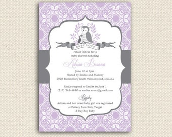 Printable Baby Shower Suite, Baby Shower Invitations, Owl Baby Shower, Thank you cards, games also available, choose colors