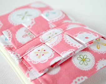 Coin purse wallet: Polka dot doily in baby pink and white with ruffle.
