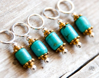Snag Free Stitch Markers in Turquoise Blue and Gold, Green-Blue Gemstone Stitch Markers, Set of 5