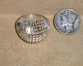 Sterling Silver Filigree Ring Vintage 1960's Size 6 3/4 Signed Jewelry 2113