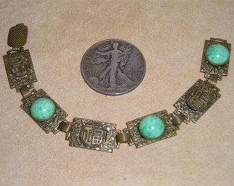 Chinese Export Bracelet Solid Brass With Green Glass Cabochons Circa 1900 Jewelry 153