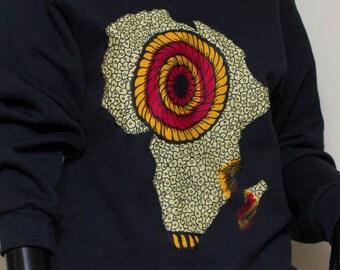 Black Sweatshirt:  Ankara African continent Mens sweat shirt, Womens Sweat shirt, Unisex sweatshirt