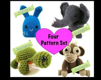 PATTERN: Bunny, Elephant, Turtle, Monkey Crochet Amigurumi Set
