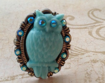 Owl Ring Adjustable Steampunk Victorian Romantic Inspired