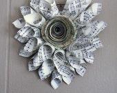 Valentine Vintage Paper Cone Rose Map Hymnal Heart Wreath *CUSTOM ORDER*