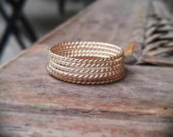 Stack Rings- 14k gold filled twist set of 6