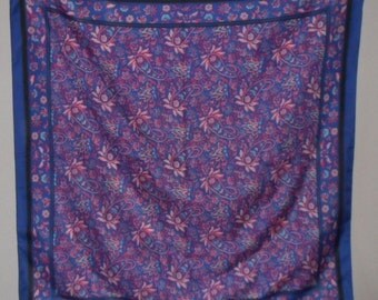 Vintage Scarf Sarah Coventry Signature Blue Floral
