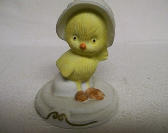 Vintage Yellow Chick Figurine Little Duckling Chickie EASTER