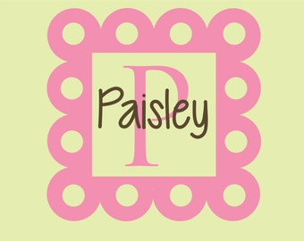 Baby Girl Wall Decal Monogram Nursery Vinyl Lettering Girls Bedroom Decor Initial Scallop