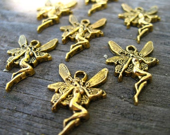8 Gold Fairy Charms 20mm Antiqued Gold