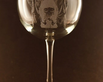 Etched Greater Swiss Mountain Dog on Elegant Wine Glass (set of 2)