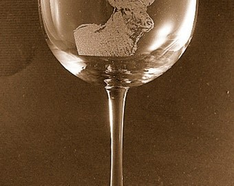 Etched Elk /Deer on Elegant Wine Glass (set of 2)