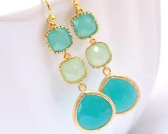 Mint Earrings, Green Earrings, Aqua Earrings, Turquoise, Ocean Blue, Glass Gold Earrings, Weddings, Bridesmaid Earrings, Bridesmaid Gifts
