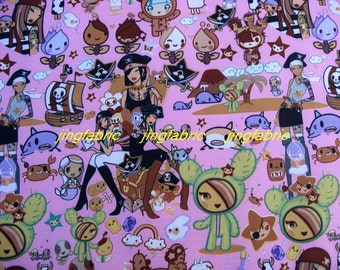 "W118B - Vinyl Waterproof Fabric - Cartoon Characters - girls  - pink -  27""x19""(70cmX50cm)"
