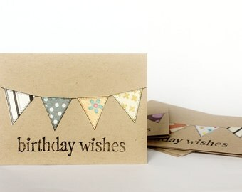 Birthday Card Set, Kraft Assorted Bunting, Hand Stamped, 3x4 Inch Heavy Card Stock - Set of 6 Cards