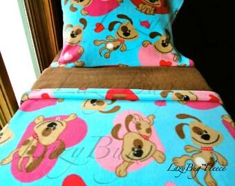 Girls Bedding Set 'Puppy Love' Girls Handmade Fleece Bed Set Fits Crib and Toddler Beds