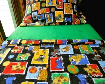 Boys & Girls Toddler Fleece Bedding Set  'Rowdy Puppies' Handmade Fleece Sheets Fits Crib and Toddler Beds
