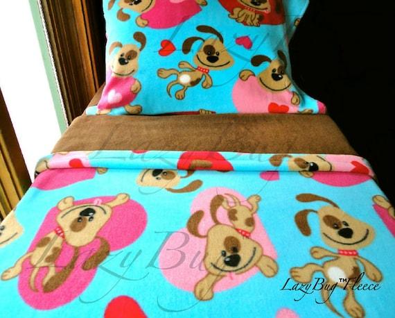 Girls Bedding Set Puppy Love Girls Handmade Fleece