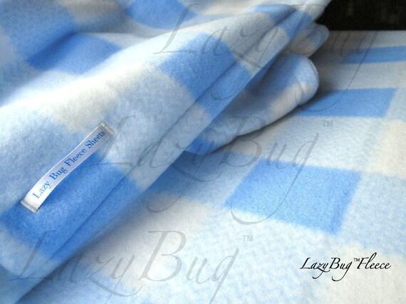 Pack N Play Sheet & Blanket Set Handmade Fleece Bedding Set for Babies 'Blue Plaid' Print