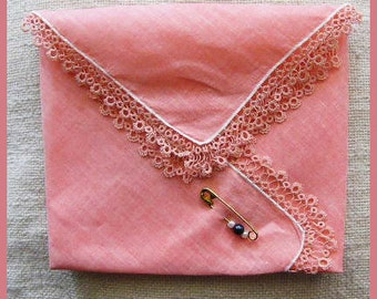Vintage Linen Hankie Handkerchief Gift Pocket With Tatted Edges