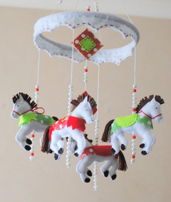 Carousel Horse Baby Mobile Crib Mobile Felt By Razzledazzle4u