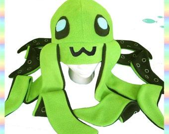 Green Octopus Hat - Antipill Fleece Anime Animal Tentacles 2 ft Long Cute Kawaii Cosplay Adult Teen Child Sizes
