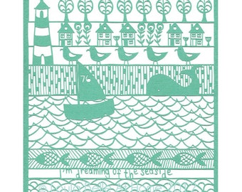 LESS than HALF PRICE I'm dreaming of the Seaside - a signed print from an original paper cut by Loula Belle At Home