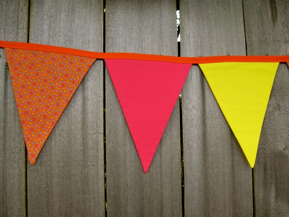 "Clearance 50% Off - Birthday Fabric Bunting Banner - ""Birthday Girl"" Fabric - Bright Pink, Yellow, Orange Paisley Print Room Decor"