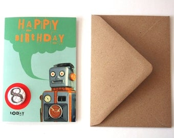 SALE - SEL - Robot Blue Happy Birthday Eco Friendly Art Greeting Card with Number Badge