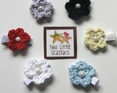 Set of Two: Crocheted Flower & Pearl Hair Clips, CHOOSE YOUR COLOR