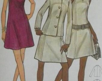 Vintage A-line Mini Dress & Jacket Pattern-Butterick 5865-1970s Bust 39 Uncut