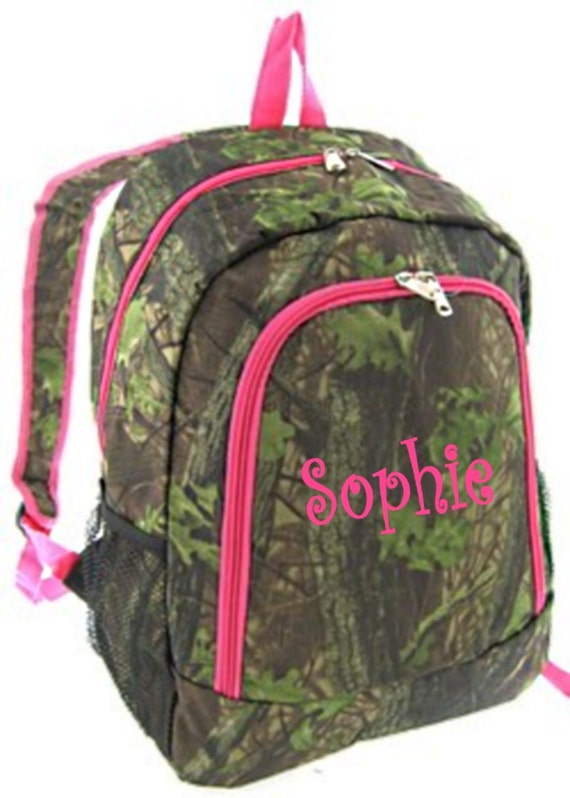 SALE Personalized Girls Backpack Canvas Booksack Mossy Oak