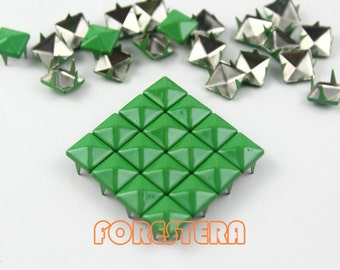 50Pcs 8mm Green Color PYRAMID Studs (CP-6037-08)