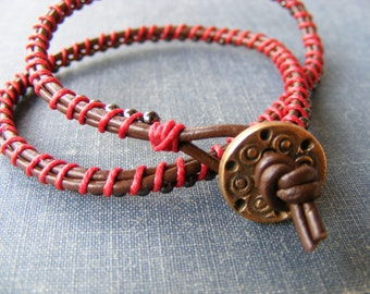 Gypsy Wind Wrap Bracelet:  Brown Leather and Red Waxed Irish Linen Wrap Bracelet with Bronze Swirl Button