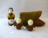 Waldorf Style Mother Earth and Root Children Playset - storytelling puppets - playscape - nature table - felted table puppet - ready to ship