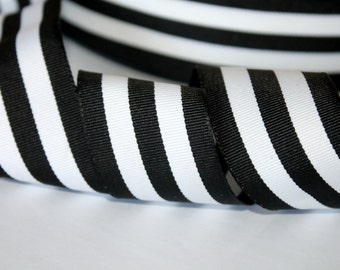 """Thick Black and White Striped Ribbon 1.5 """" Woven ONE YARD Black Stripe Grosgrain Woven Ribbon Wedding Ribbon"""