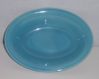 Vernon Kilns Oval Bowl Turquoise Early California Oval Serving Bowl