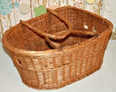 Vintage French Country Wicker Bicycle Basket