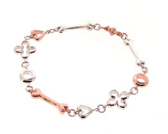 Rose Gold and Silver Luck, Love, Life & Infinity Bracelet, Valentines day