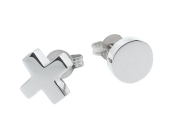 Sterling Silver 'Baby Kiss and Hug' Stud Earrings, xo studs