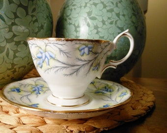Antique Royal Albert Bone China Teacup and Saucer Heather Bell Pattern
