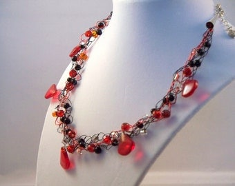 red necklace, silver jewelry, wire crochet necklace, red black jewelry