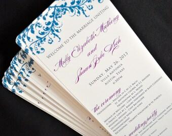 Tea Length Wedding Program Cards - Wedding Ceremony Programs - Custom Printed Wedding Cards