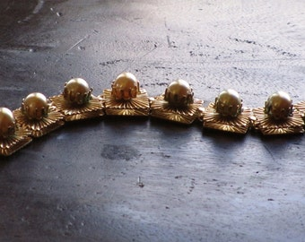 Bracelet, Marino, Bead and Starburst Design, Mid Century Jewelry