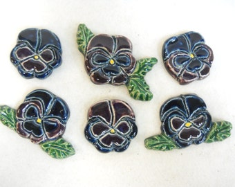 Handmade Ceramic Tiles PANSIES Decorative Sroneware Art Navy Blue / Purple set of 6 - Mosaic Tile Pieces - Craft Tiles