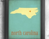North Carolina Art, Map print state map art poster you choose your color and location.