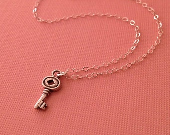 Silver Key Necklace  -Key Necklace in Sterling Silver -Key to Heart Necklace