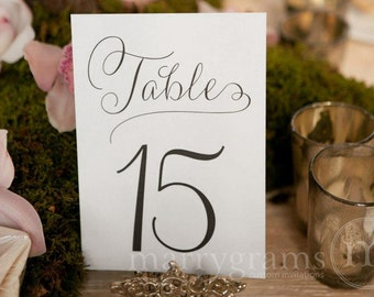Table Number Signs - Perfect for your Wedding Reception - Table Cards Fancy Script, Elegant Simple Table Numbers (Set of 10) SS01