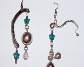 Sterling and Silverplate Shoulder Duster Chandelier Earrings with Crystals and Star Beads, Silver Scrap