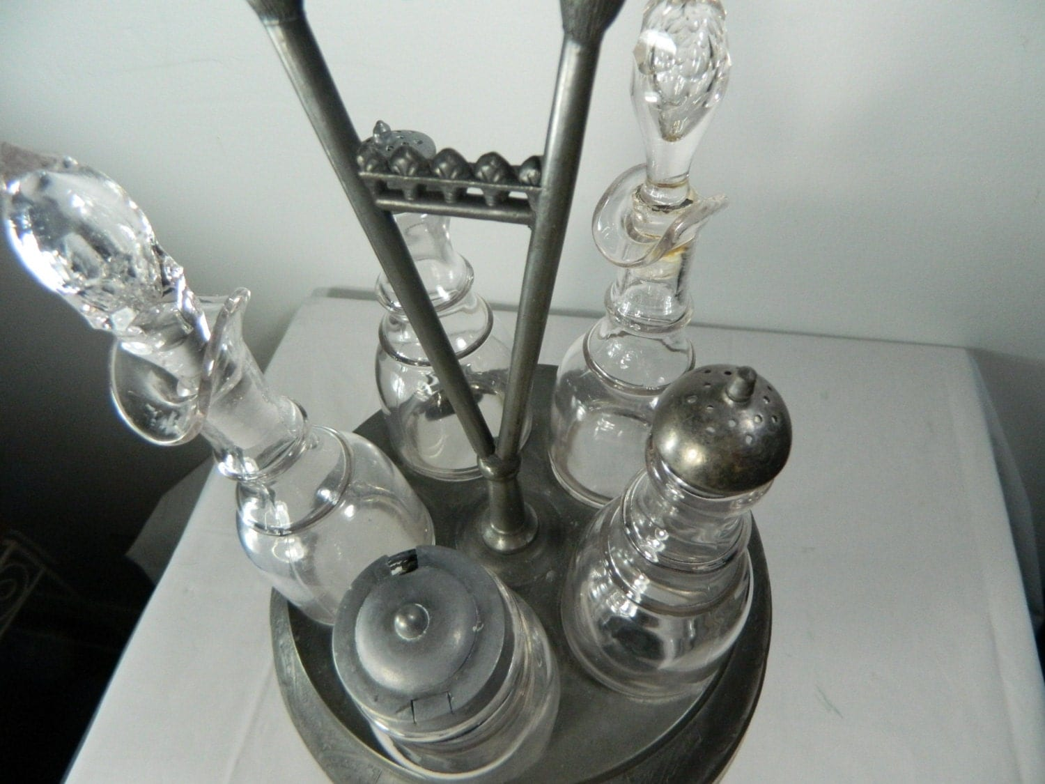 Antique Silver Plate Cruet Condiment Caddy By Homan Silver Co